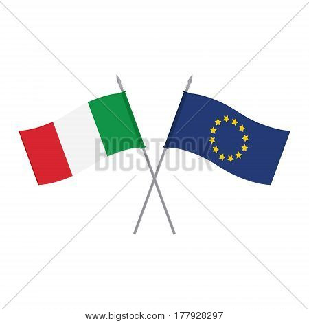 Eu And Italy Flags