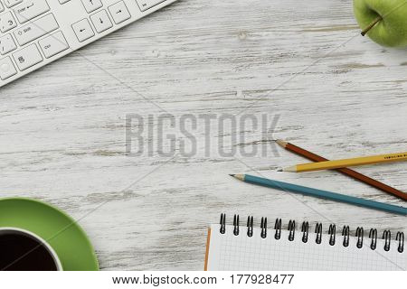 Business workplace keyboard and other stuff . Mixed media