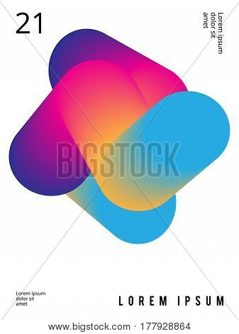 Fluid poster in colorful modern style with abstract elements. Template design layout