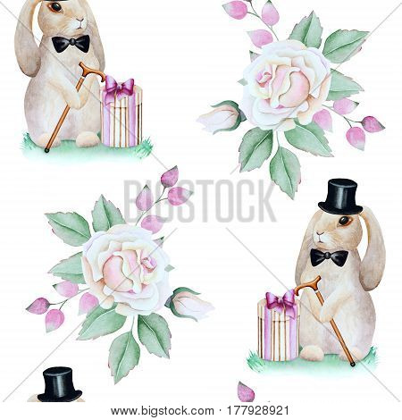 Seamless pattern of cute rabbits in a cylinder hat with a cane gift boxes and white roses in a vintage style on a white background.