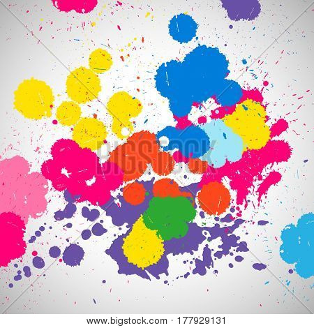 Holi background of color paint splashes, abstract colorful splash paint blots. Bright spots and blobs for holiday design poster, card, banner, etc.