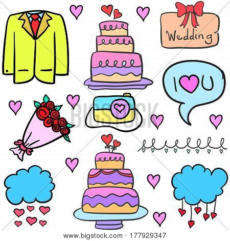 Collection stock of wedding object in doodles vector art