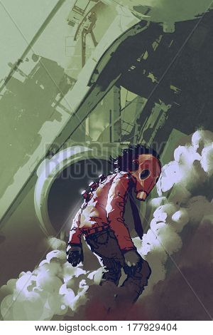 futuristic character of red gas mask man standing in white smoke, illustration painting