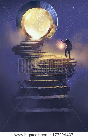 man with a lantern walking on stone staircase leading up to fantasy gate, illustration painting