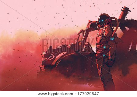 red astronaut standing near futuristic vehicle on Mars planet, illustration painting