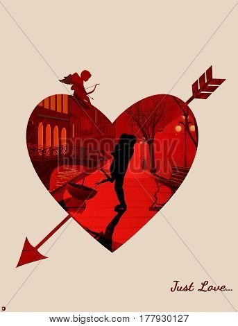 Illustrations with double exposure. A man hugs a woman and kisses her, they stand in the street of the old city at night in the rain. Background heart with an arrow, Cupid sitting on a heart.