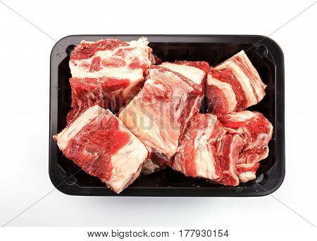 pieces of meat on a white background. beef meat. intermediate product.