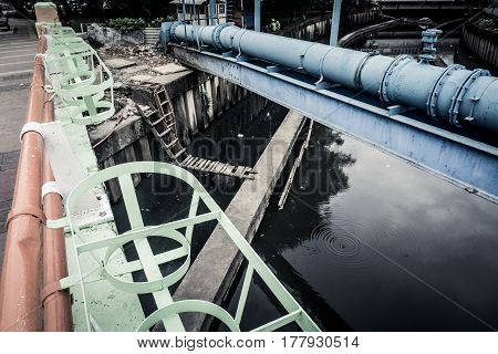 dirty river with blue water pipe crossing on top the river photo taken in jakarta indonesia java