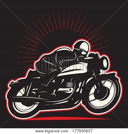 Motorcycle rider on motorcycle. Emblem of bikers club sign. Vector illustration
