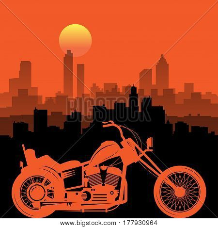 Motorcycle and city skyline. Emblem of bikers club sign. Vector illustration