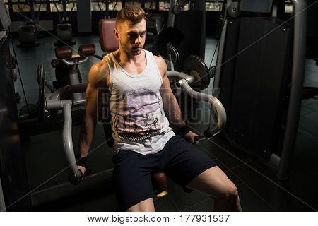 Muscular Man Exercising Biceps