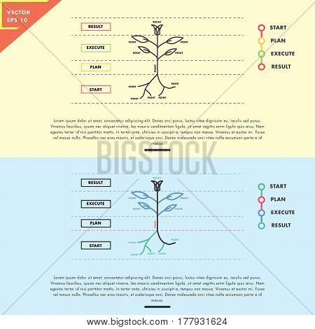 Flower plant infographic analogy, flat design with simple line art
