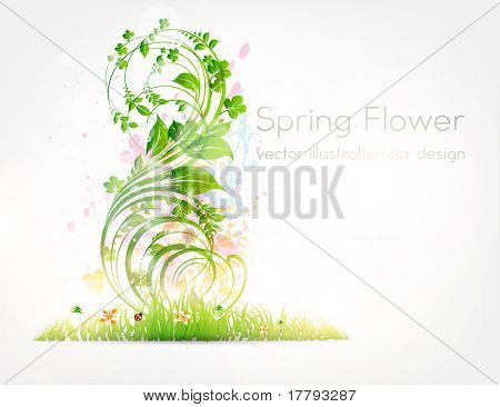 Vector summer illustration of floral ornament with flowers, grass and ladybird. eps 10. poster