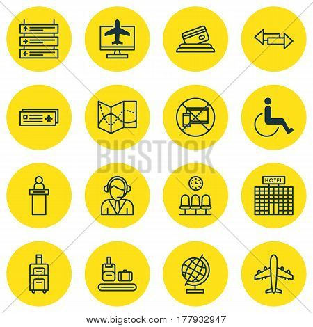 Set Of 16 Airport Icons. Includes Credit Card, World Sphere, Plane Schedule And Other Symbols. Beautiful Design Elements.