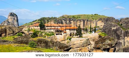 Panoramic view of Agios Stefanos St Stefan Monastery Meteora monastery on the high cliff rock, Greece
