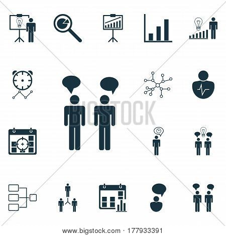 Set Of 16 Executive Icons. Includes Decision Making, Project Targets, System Structure And Other Symbols. Beautiful Design Elements.