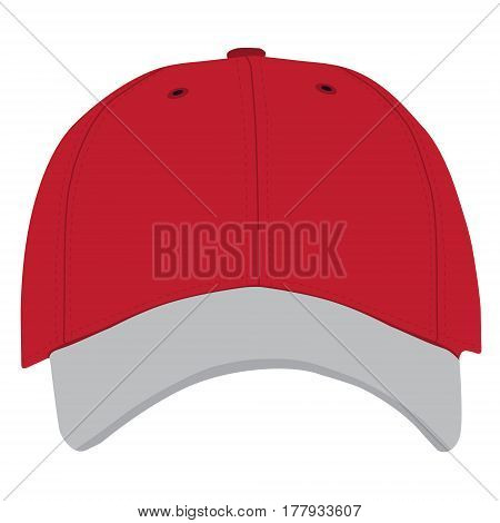 Vector illustration of red and grey baseball cap front view isolated on white background. Baseball cap template design