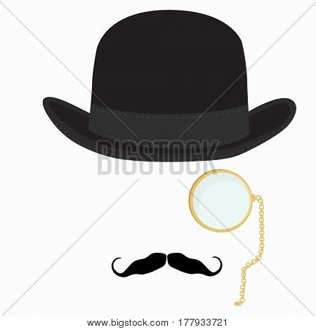 Vector illustration of black derby hat mustache and golden monocle with chain. Bowler hat. Black fashion gentleman hat. Gentleman concept