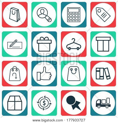 Set Of 16 E-Commerce Icons. Includes Present, Finance, Bookshelf And Other Symbols. Beautiful Design Elements.