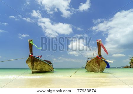 Traditional long-tail boat on the beach in Railay beach  Thailand