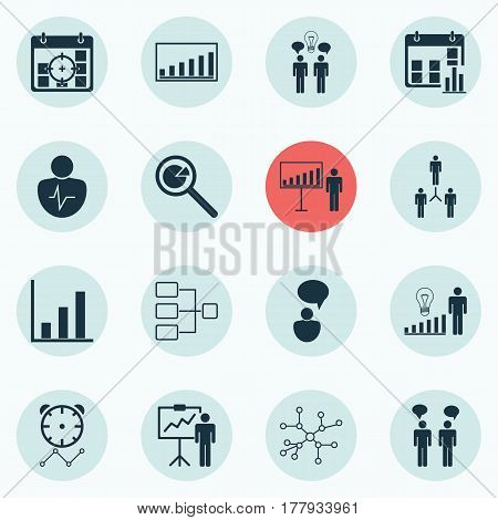 Set Of 16 Executive Icons. Includes Personal Character, Bar Chart, Project Analysis And Other Symbols. Beautiful Design Elements.