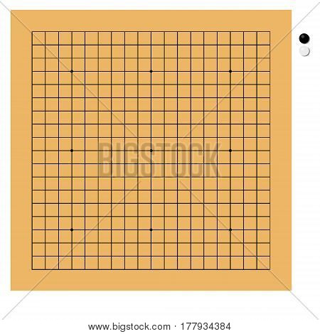 Vector illustration traditional chinese japanese strategy board game. Go game or igo. Go board yundzi.