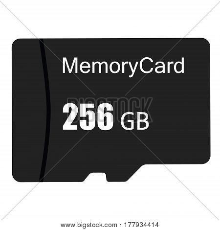 Vector illustration black sd memory flash card. Micro SD memory card icon