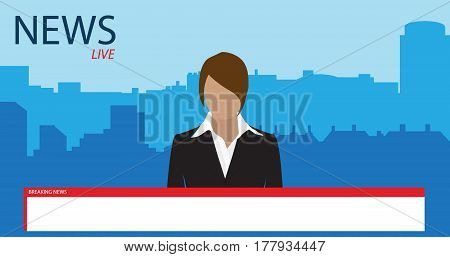Vector illustration anchorman on tv broadcast news. Media on television concept. Breaking news. TV News with woman newsreader or journalist concept background