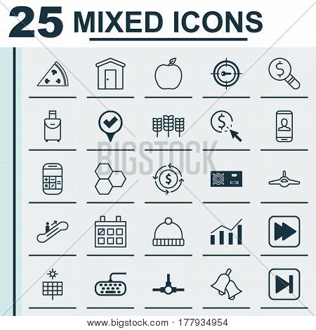 Set Of 25 Universal Editable Icons. Can Be Used For Web, Mobile And App Design. Includes Elements Such As Finance, Information Components, Trip Handbag.