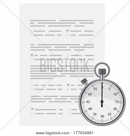 Vector illustration test exam paper with timer. Exam or survey concept icon. School test. School exam.