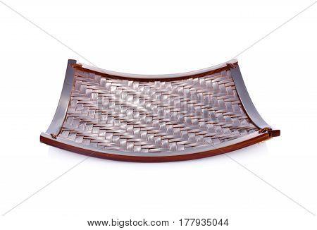 empty bamboo flat basket on white background