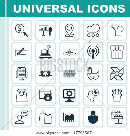 Set Of 25 Universal Editable Icons. Can Be Used For Web, Mobile And App Design. Includes Elements Such As Present, Plane, Laptop Ventilator And More.
