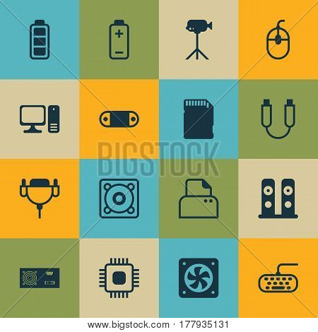 Set Of 16 Computer Hardware Icons. Includes Memory Card, Chip, Portable Memory And Other Symbols. Beautiful Design Elements.