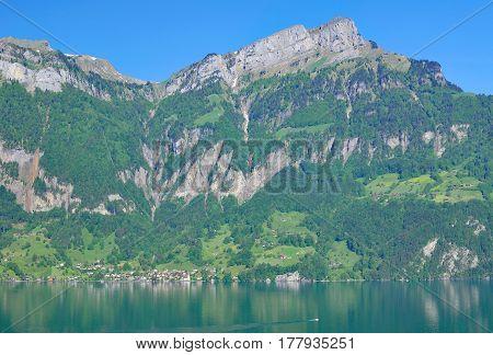 View to Village of Bauen at Lake Urnersee in Uri Canton,region of Lake Lucerne,Switzerland