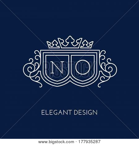 Simple and elegant monogram design template for two letters N O with a triple crown. Vector illustration.