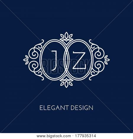 Simple and elegant monogram design template for two letters J Z. Vector illustration.