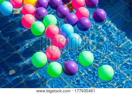 Colorful plastic balls in pool pool villa house.