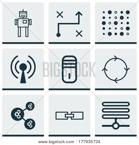 Set Of 9 Robotics Icons. Includes Radio Waves, Solution, Information Base And Other Symbols. Beautiful Design Elements.
