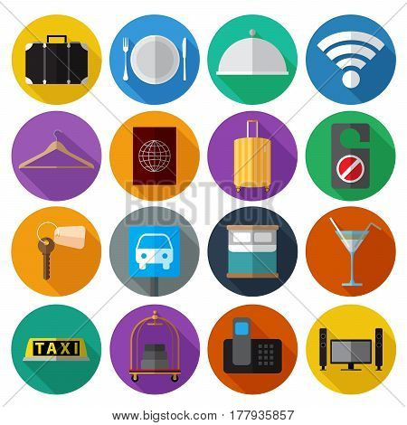 Set os simple modern hotel symbols flat icons on color circles vector illustration