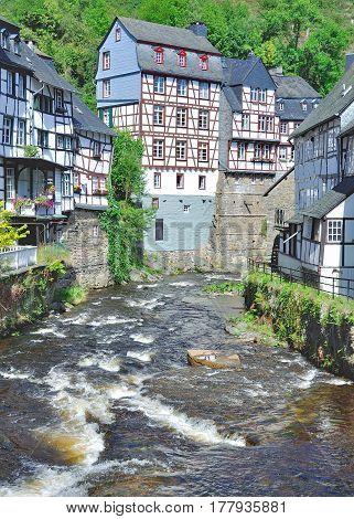 idyllic Village of Monschau in Eifel at Rur River,North Rhine Westphalia,Germany