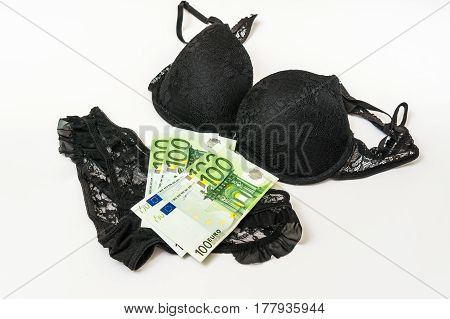 Woman's Panties And Bra With Euro Money Isolated On White