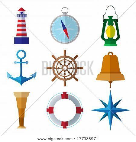 Set of simple nautical flat symbols on white background vector illustration