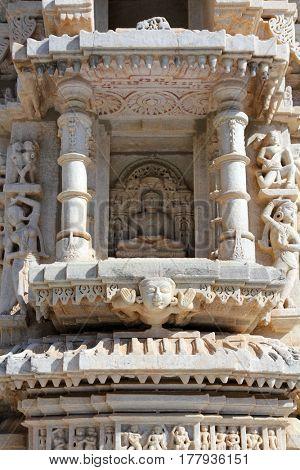 JAIPUR, INDIA - CIRCA NOVEMBER 2012: Hinduism ranakpur temple fragment