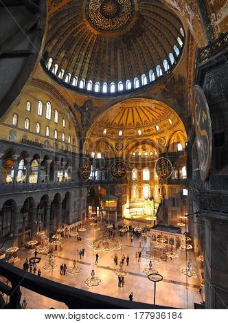 ISTANBUL, TURKEY - CIRCA NOVEMBER 2012: Hagia Sofia museum interior