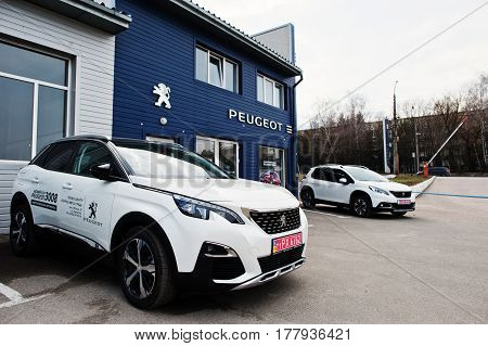 Kiev, Ukraine - March 22, 2017: New Peugeot 3008 At Car Dealership.