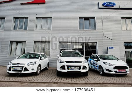 Kiev, Ukraine - March 22, 2017: New Ford Fiesta, Focus And Kuga Cars At Car Dealership.