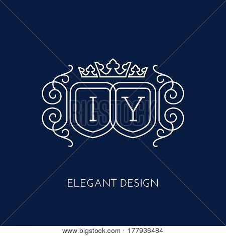 Simple and elegant monogram design template for two letters I Y with a triple crown. Vector illustration.