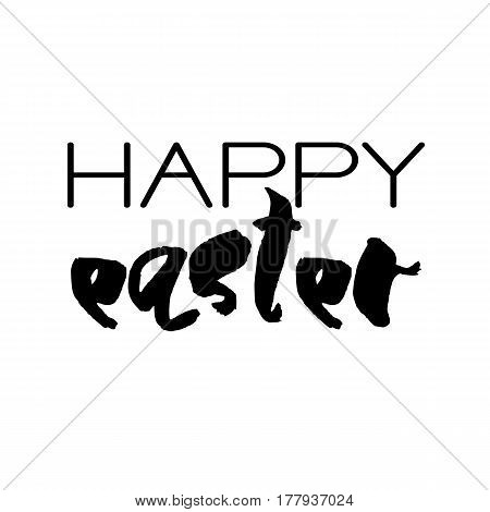 Decorative handdrawn lettering. Modern ink calligraphy. Happy Easter handwritten black phrase isolated on white background. Vector element for greeting card and decor