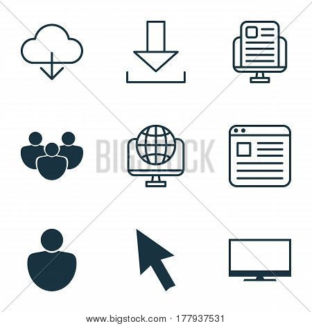 Set Of 9 World Wide Web Icons. Includes Computer Network, Blog Page, Human And Other Symbols. Beautiful Design Elements.