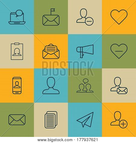 Set Of 16 Social Icons. Includes Remove User, Bullhorn, Web Profile And Other Symbols. Beautiful Design Elements.